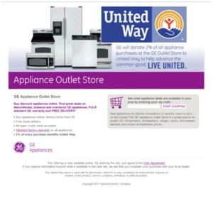 ge appliance outlet store works with united way